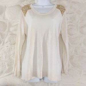 Michael Kors White and Gold Beaded Sweater size 1x
